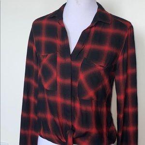 Cloth & Stone Plaid Front Tie Shirt